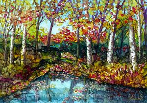 fall, trees, alcohol inks, Francine Dufour Jone