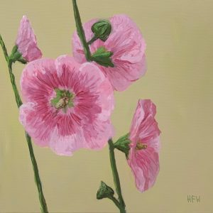 "Hollyhocks, 12"" x 12"""