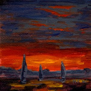 "Evening Sail Miniature, 3"" x 3"""