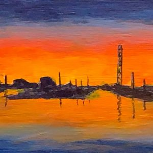 "Municipal Yacht Harbor Sunset, 4"" x 12"""
