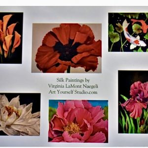 Silk flowers notecards set a
