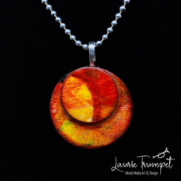 Red Dawn Mixed Media Pendant Necklace