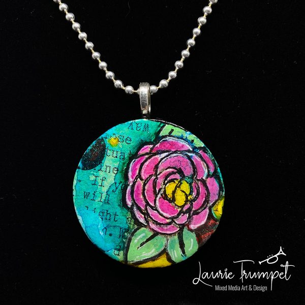 Pink Zinnia Mixed Media Pendant