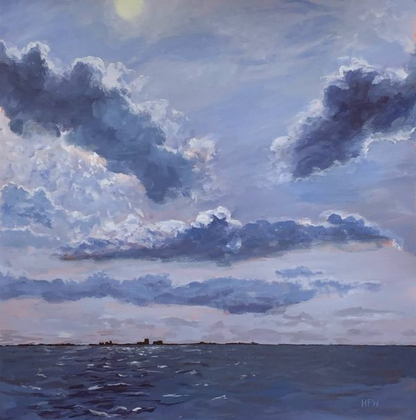 Painting of clouds over Lake Pontchartrain